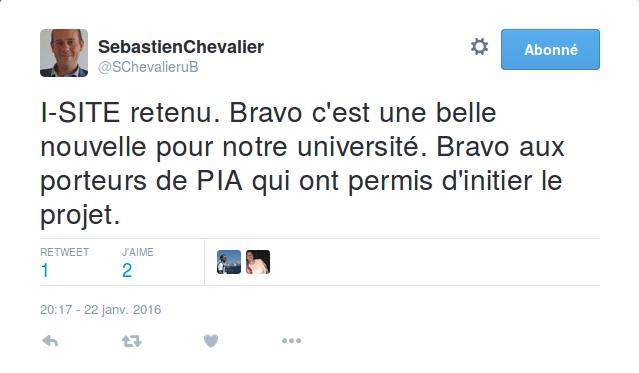 S. Chevalier tout heureux de l'obtention de l'I-SITE.