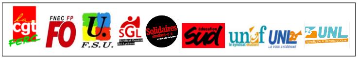 FERC-CGT, FO, FSU, SGL, Solidaires, Sud-Education, UNEF, UNL